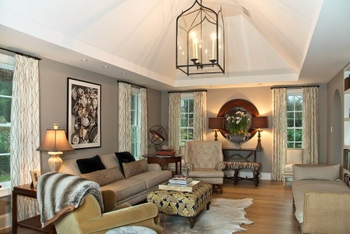 Love the lighting...: Decor Ideas, Lights Fixtures, Living Rooms Design, Interiors, Wall Color, Family Rooms, Families Rooms Design, Leslie Hay, Traditional Families Rooms