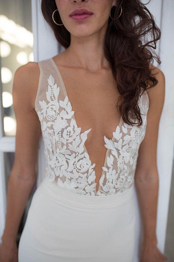Lace Wedding Bodysuit Bridal Top Bridal Separates Bridal Etsy Two Piece Wedding Dress Wedding Bodysuit Bridal Tops