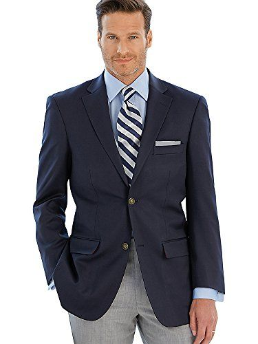 Paul Fredrick Men's 100% Wool Two-Button Travel Blazer Navy 46 Short