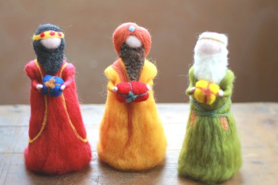The three wise men, Magi, Needle felted, Nativity Set, Waldorf inspired, Bethlehem, Kings of the east, 3 kings, Needle Felt,Christmas, Decor...