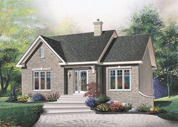 Charming 2 bedroom European style home has a lowered family room with fireplace.  European House Plan # 181865.