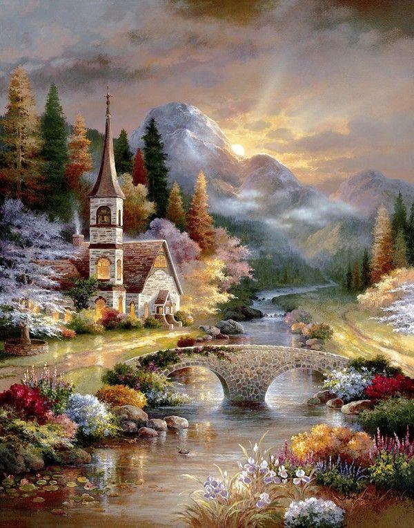JAMES LEE ~ church ~ stream ~ stone bridge