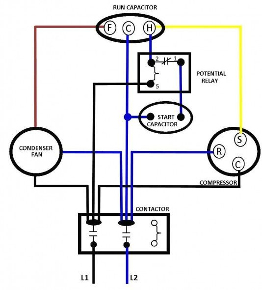 Single Phase Motor Wiring Diagram With Capacitor Start Ac Capacitor Electrical Circuit Diagram Compressor