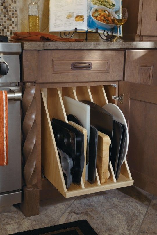 This #Dynasty pullout includes four sections that are perfect for storing all of your oversized items, such as cookie sheets or baking pans.