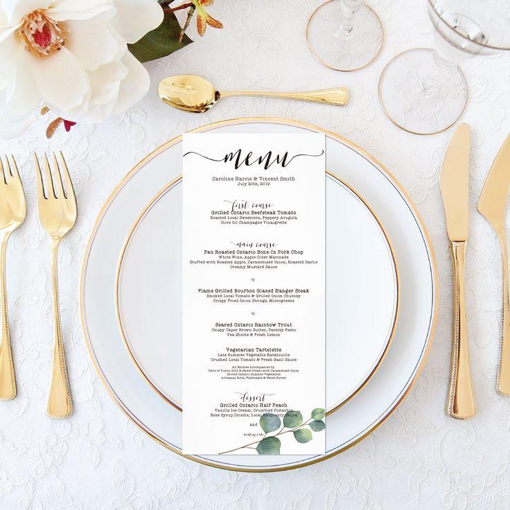 Printable Wedding Menu - Personalized Watercolor Eucalyptus Wedding Boho Wedding Menu Elegant Wedding Set - Calligraphy Wedding Stationery by OnionSisterCreative on Etsy