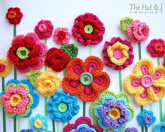 Haak patroon - Floral Fantasy - 5 kleurrijke gehaakte bloem patronen en 2 mooie bladpatronen - Instant PDF Download