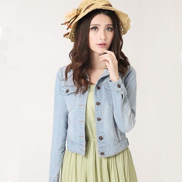 Fashion Women Denim Jacket Plus Size S-4XL Vintage Cropped Short Denim Jackets Long-Sleeve Jeans Cardigan Coat Light/Deep Blue-Enso Store-Light Blue-S-Enso Store