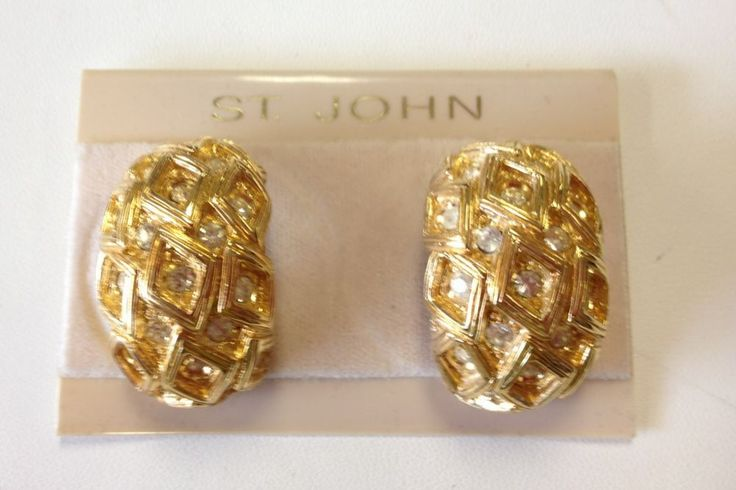 John Knits Vintage Gold Earrings Clip On Swarovski Crystals Signed Nwot Rare