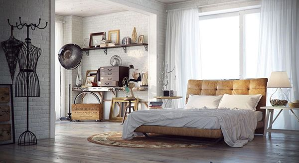 #Chique #industriële #slaapkamer met stoer #leren #bed en #rond #vloerkleed en grote #metalen #lamp. Naast de slaapkamer een gezellige #muur met #accessoires op #planken. #industrial #bedroom #leather #bed