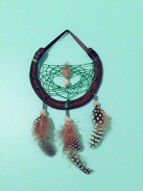 Horseshoe Dreamcatcher with rose quartz chips and glass pearls by EarthDiverCreations on Etsy https://www.etsy.com/ca/listing/487161675/horseshoe-dreamcatcher-with-rose-quartz