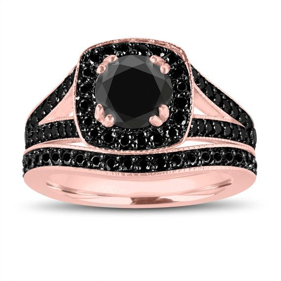 Black Diamonds Engagement Ring and Wedding Band Set 14K Rose Gold 1.82 Carat Unique Handmade Halo Pave Bridal