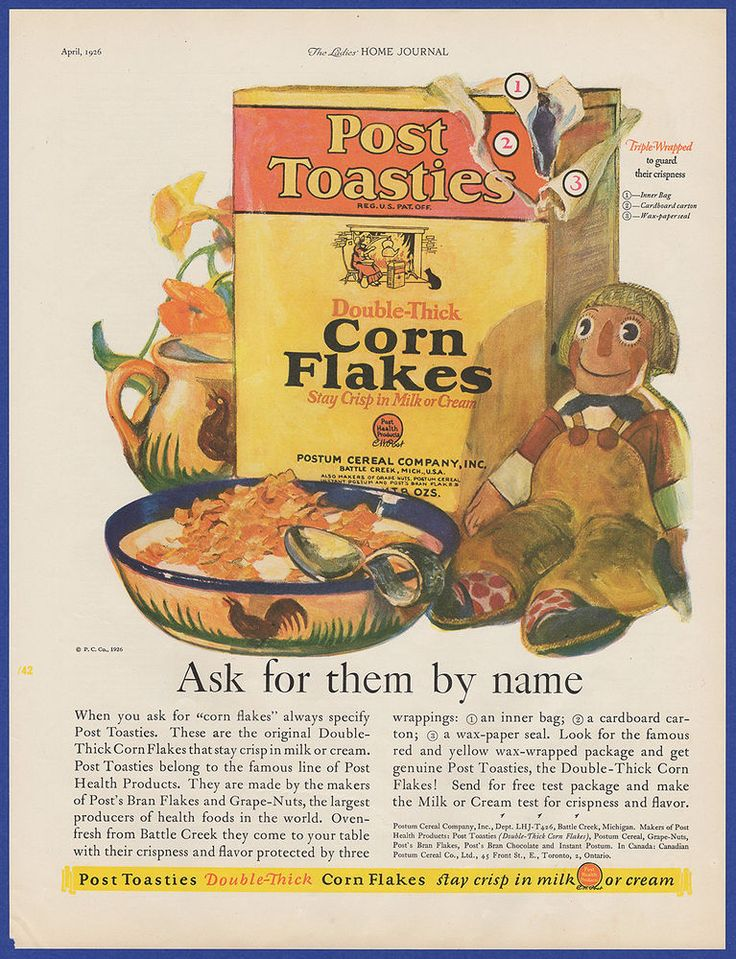 Vintage 1926 POST TOASTIES Corn Flakes Cereal Kitchen Art Decor Print Ad 20's #PostToasties