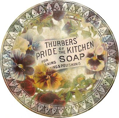 Round graphic: pansies, advertisement, frame.