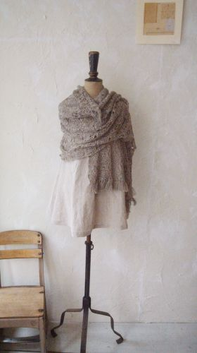 Linen hand crocheted and Linen Jersey Dress