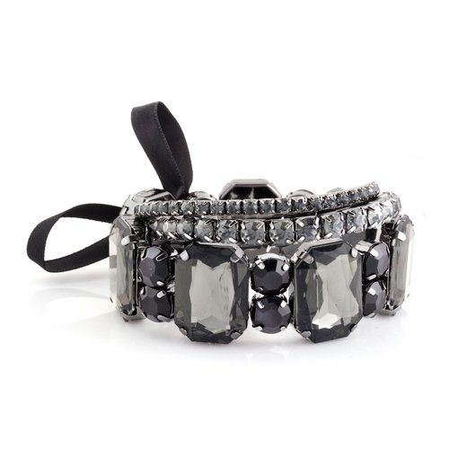 Black Rectangular Stones Stretch Bracelet