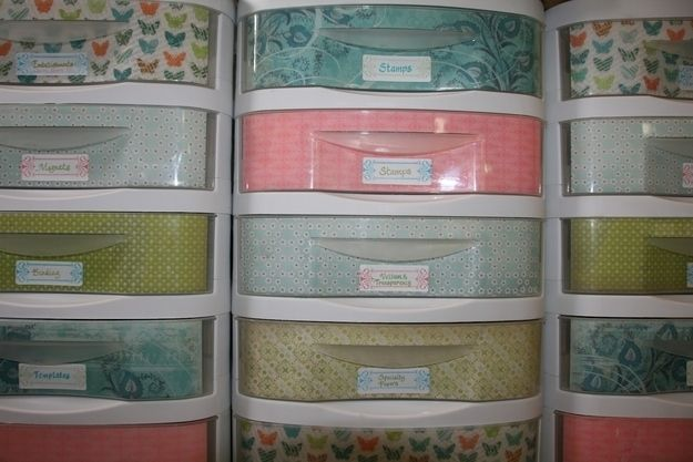 Line your standard plastic storage drawers with decorative paper