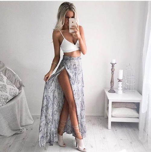Cute to wear on a European vacation... High slit skirt and crop top with heels