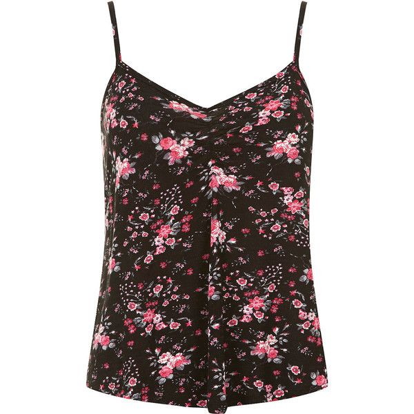 Dorothy Perkins Petite floral cami top (€10) ❤ liked on Polyvore featuring tops, shirts, tank tops, tanks, camis, black, petite, cotton camisole, cotton cami and floral shirt