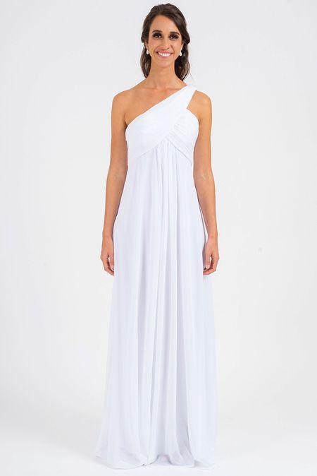 3ab2f107f204 Alice One Shoulder Bridesmaid Dress in White | Model Chic Bridesmaid ...