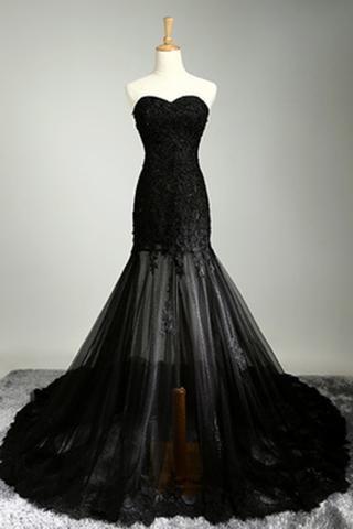 Black tulle lace sweetheart see-through mermaid floor -length prom dresses…