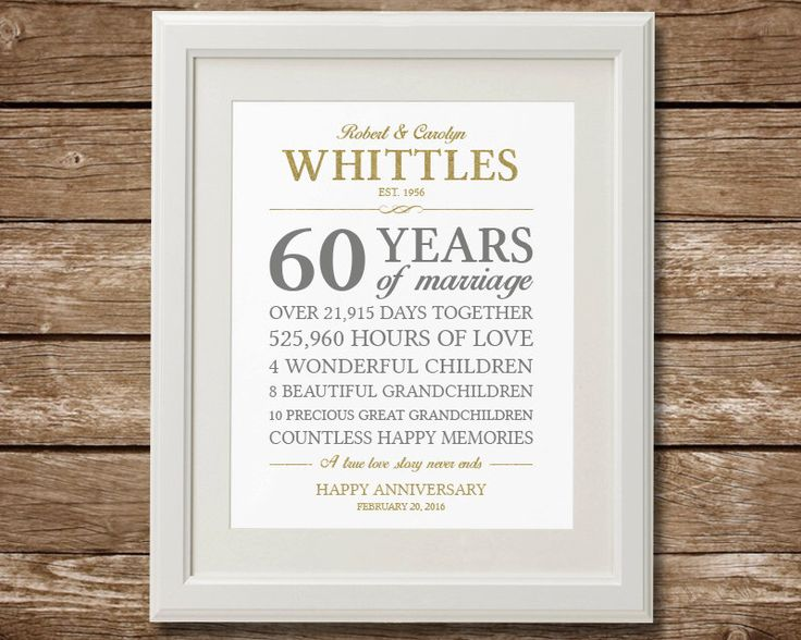 Gift Ideas 60th Wedding Anniversary Parents : 60th Anniversary Gift, Diamond Anniversary, Anniversary Gift ...