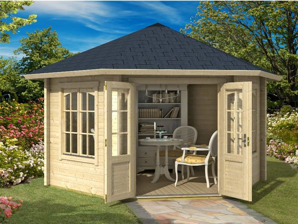 Trentan Ripley hexagonal log cabins for sale. Fully double glazed. Made using Nordic timber for long life. Visit Woking, Surrey Log Cabin UK display site.