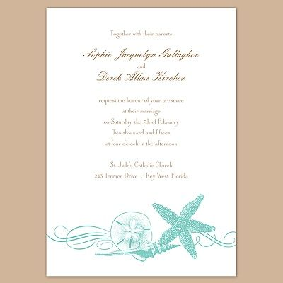 Starfish and Seashells - Lagoon - Invitation Really like this one!!