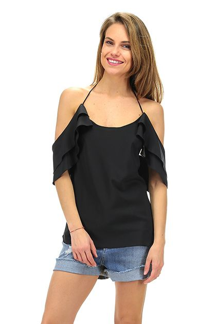 Rapsodia In Nero - Top - Abbigliamento - Top in seta con rouge ed allacciatura all'americana.La nostra modella indossa la taglia /EU 40. - NERO - € 139.00