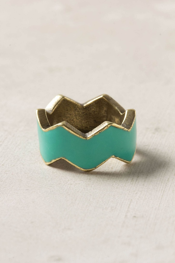 chevron teal ring