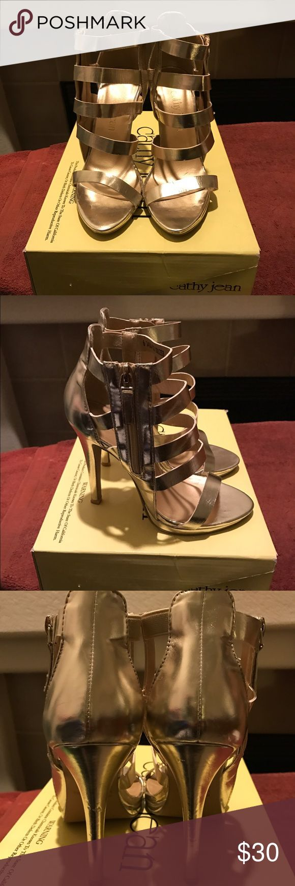 Gold Metallic Gladiator Sandal Heels So cute & sexy! Worn them once to a wedding. Heel measures about a little over 4 inches. Comfortable and easy to walk in. Same day ship if sale completed by 4pm PST. Cathy Jean Shoes Heels