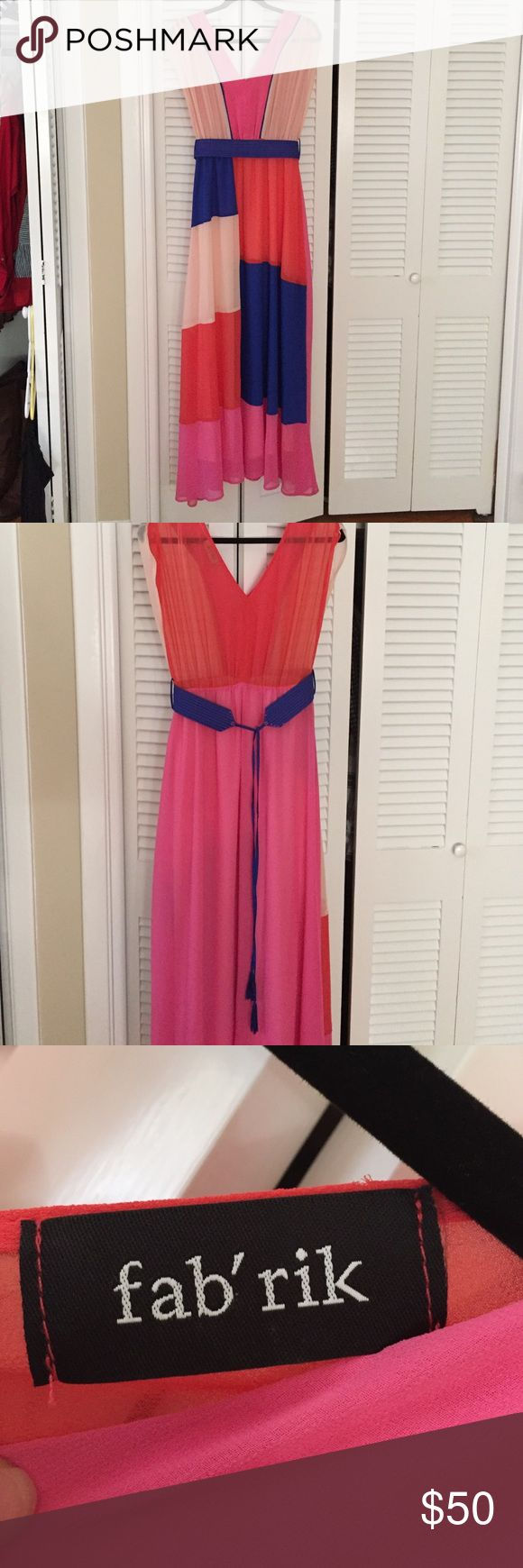 Color block pink maxi from Fabrik Maxi worn once. Belt included but not attached. Light and airy. Fabrik Dresses Maxi
