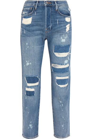 FRAME - Le Original Distressed High-rise Straight-leg Jeans - Blue