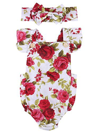 baby rompers | Newborn Kids Baby Girls Clothes Floral Jumpsuit Romper Playsuit + Headband Outfits (6-12 Months)