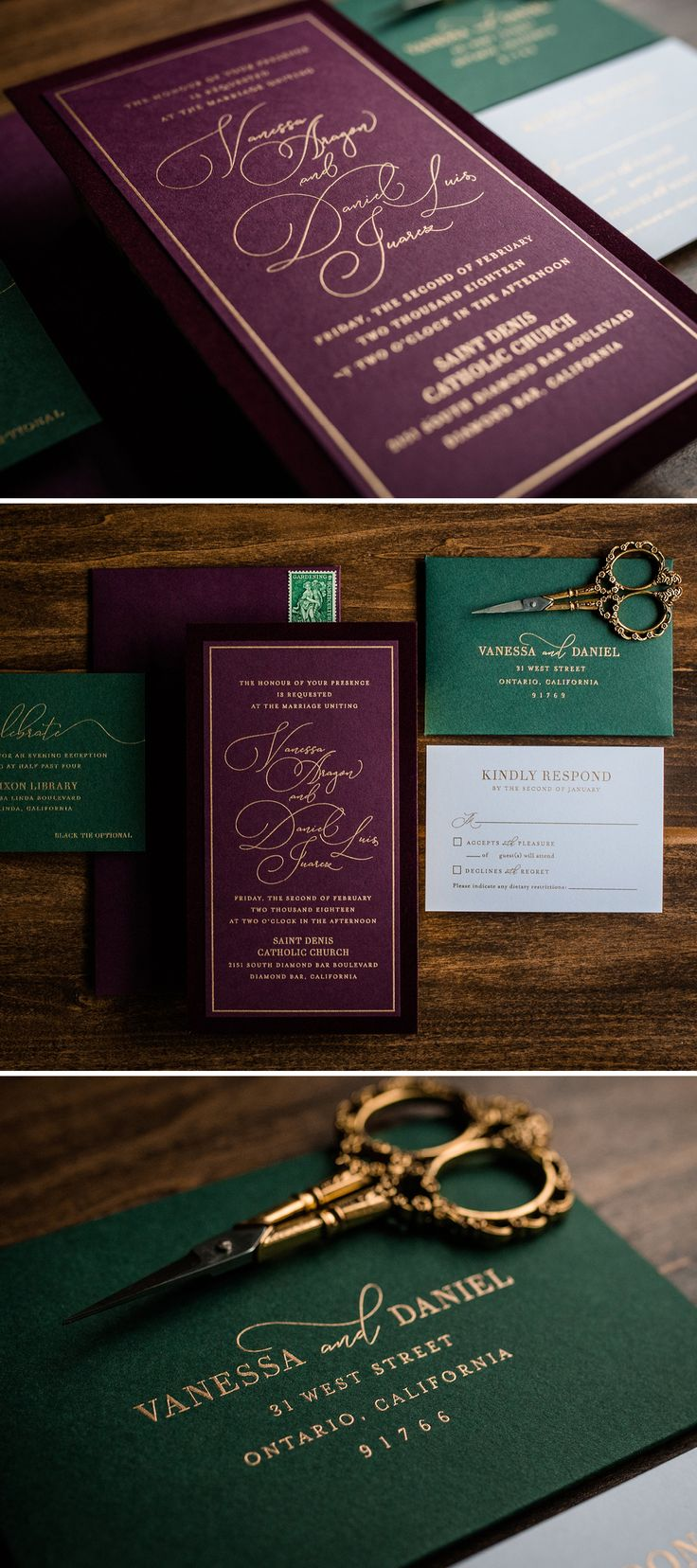sister marriage invitation letter format%0A Jewel Toned Velvet Wedding Invitation by Penn  u     Paperie  Unique invitation  with velvet fabric