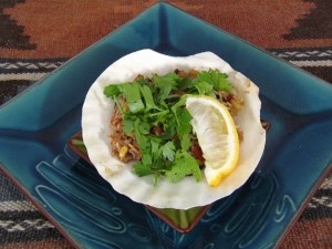 Turkish inspired stuffed mussels - serves 3 as a tappas dish