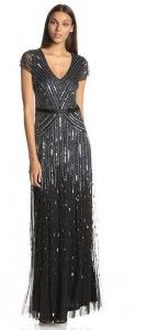 ADRIANNA PAPELL WOMEN'S CAP SLEEVE V NECK FULLY BEADED GOWN