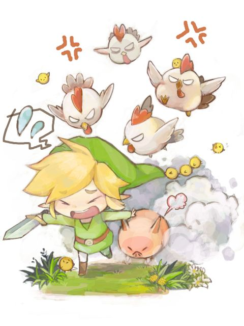 Safebooru - Anime picture search engine! - angry bird blonde hair chibi chicken grass link nintendo pig running sword tegaki the legend of zelda tsumuki weapon | 844302