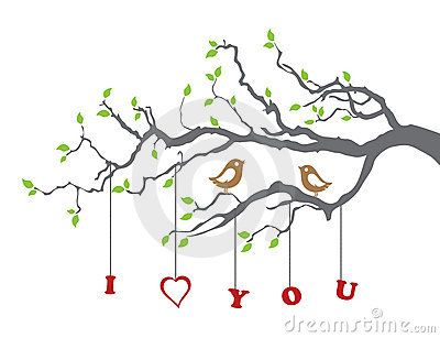 Birds in love on a tree branch. This image is a vector illustration.