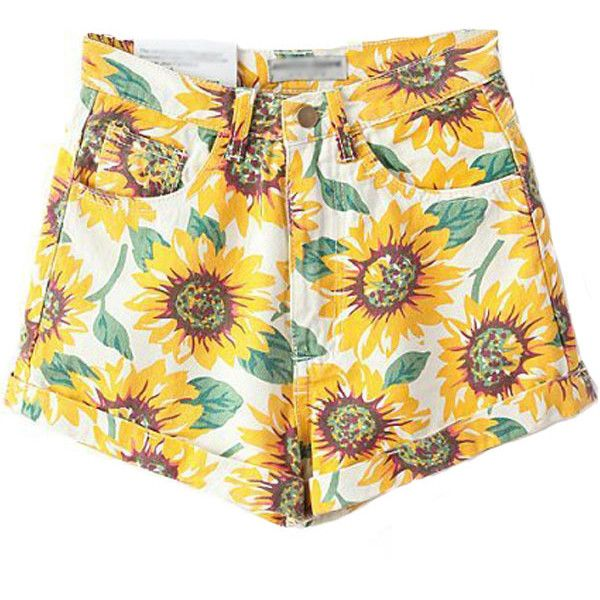 White High Waist Sunflower Print Casual Denim Shorts ($26) ❤ liked on Polyvore featuring shorts, bottoms, white, highwaisted jean shorts, denim shorts, high-waisted jean shorts, print shorts and high waisted zipper shorts