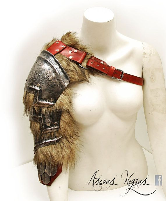 Norse fantasy steel and leather shoulder armor with scalemails female…