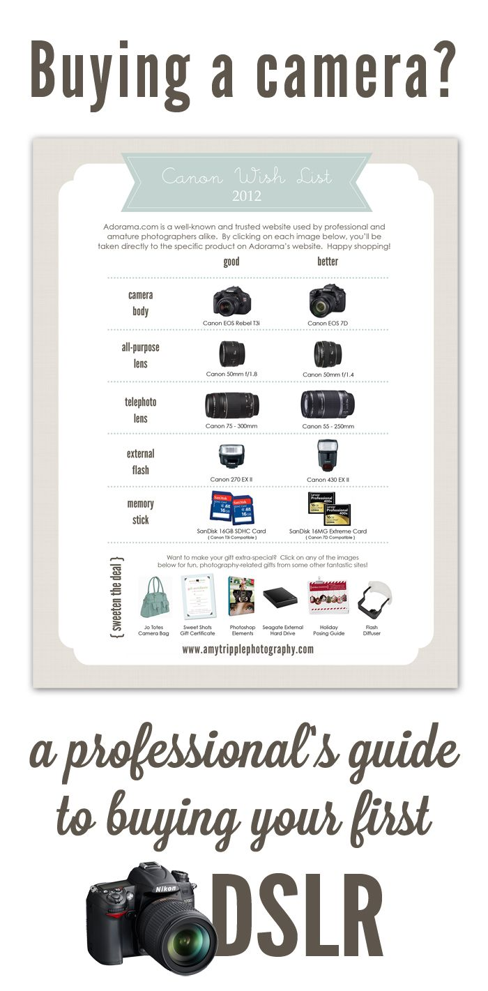 DSLR Buying Guide by Amy Tripple Photography. Check this out if you are buying your first DSLR or are looking for an upgrade. Great information!