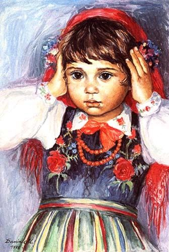 Girl wearing a traditional folk outfit from Poland