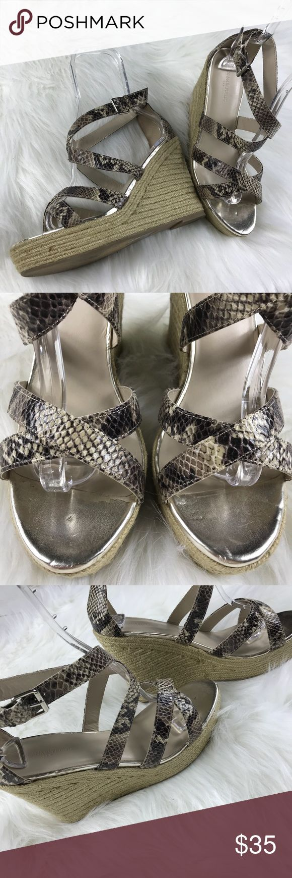 [Banana Republic Factory] Snake Espadrille Wedges • Lightly Used • Excellent Condition • Signs of Wear On Front Top Inside Shoes & Bottoms • Snakeskin Reptile Print • Woven Espadrilles Bottoms • Silver Hardware • Wedge Style • Adjustable Buckle Fastening • Heel Height: 5ins • Platform Height: 1.5ins • Upper: Textile & Other Materials • Lining & Sock: Other Materials • Outsole: Textile & Other Materials Banana Republic Shoes Wedges