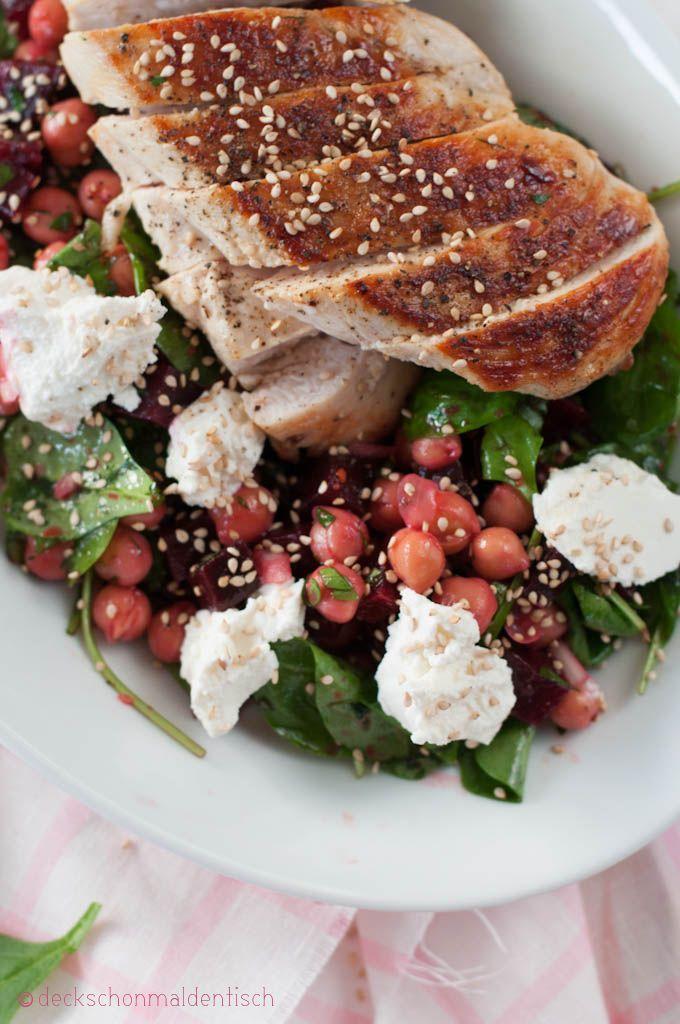 Rote Beete Salat mit Kichererbsen