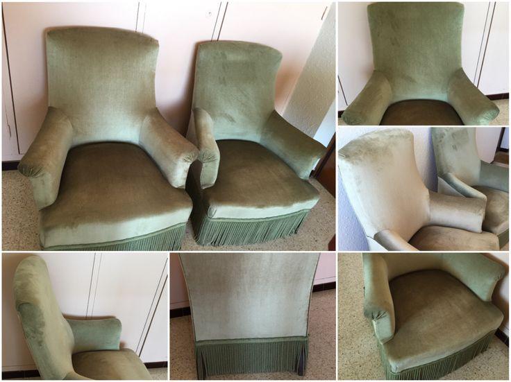 Magnifique paire de fauteuils en velours vert amande fabriqués sur mesure dans les années 60. Ils sont très confortables, en excellent état et leur couleur est à la fois douce et lumineuse. Dimensions . Hauteur totale 91 cm, hauteur assise, 40 cm, largeur et profondeur 80 cm. 300€ (hors frais de port)