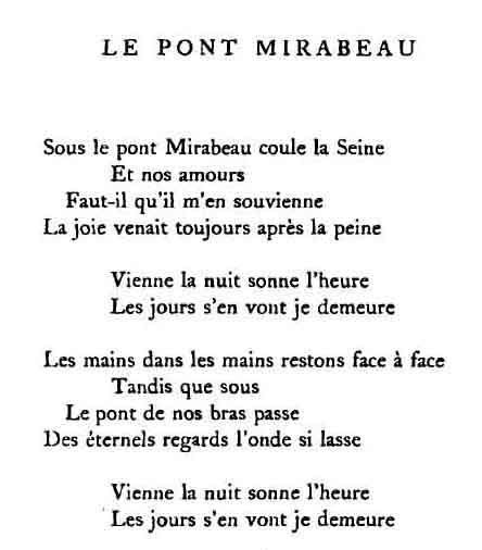 Guillaume Apollinaire Mon poème préféré...je l'adore...