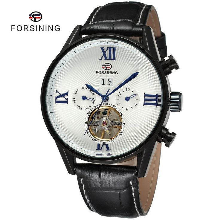 Find More Sports Watches Information about 2 Colors FORSINING Brand Sport Style Black Leather Automatic Mechanical Luxury Men Tourbillon Watch Mens Clock relogio masculino,High Quality clock button,China watch package Suppliers, Cheap clock degrees from YIKOO Watches Store on Aliexpress.com