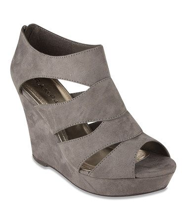 Another great find on #zulily! Gray Faux Suede Wedge Bootie #zulilyfinds