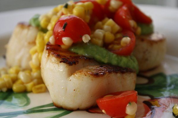 Seared Scallops with Corn Salsa and Tomatillo Guacamole! From the ladies at Big Girls Small Kitchen