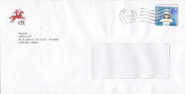 Sobrescrito circulado de Lisboa com selo auto adesivo referente à emissão base festas tradicionais colocado em circulação a 13/11/2012